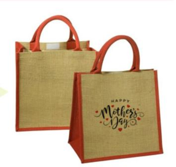 "Custom Junior Jute Tote With Multi Color 11.9"" X 12"""