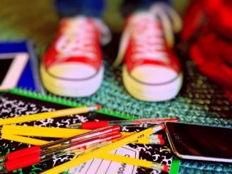 Pencils, notebooks, and pens back to school