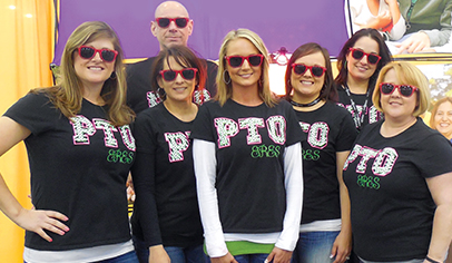 Members of the PTO get together for a quick photo