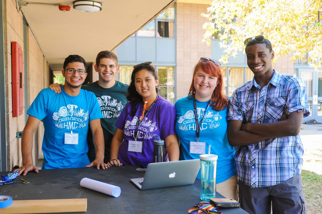 The orientation team gets together for Harvey Mudd College's New Student Orientation