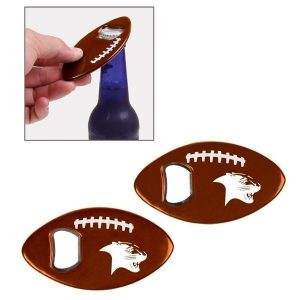 Football shaped bottle opener.
