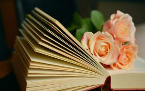 Book with a flower in it.